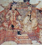 Ghazan Khan with his wife Kokachin at court, from a 13th century Mongolian painting. Kokachin was a 13th century Mongol princess from the Yuan dynasty in China, belonging to the Mongol Bayaut tribe. In 1291, she was betrothed to the Ilkhanate khan Arghun by the Mongol Great Khan Kublai. This followed a request by Arghun to his grand-uncle Kublai to send him a relative of his dead wife, and Kublai chose the 17-year-old Kökötchin ('Blue, or Celestial, Lady').<br/><br/>  Kublai, from his capital of Khanbaliq (the Khan's city, modern day Beijing) entrusted Marco Polo with his last duty, to escort princess Kökechin to Arghun. The party traveled by sea, departing from the southern port city of Quanzhou in the spring of 1291. There were 14 big ships in all, and each had 4 masts and 12 sails. They set out from Quanzhou, sailing to Sumatra, and then to Persia, via Sri Lanka and India (where his visits included Mylapore, Madurai and Alleppey, which he nicknamed Venice of the East). They arrived around 1293. Arghun had died in the meantime however, and Kökötchin married Arghun's son Ghazan. She became his principal wife.