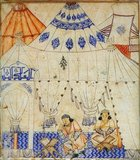 Ghazan Khan studying the Koran in a tented mosque. Illustration of Rashid-ad-Din's Jami' at-tawarih. Tabriz, 1st quarter of 14th century. Water colours on paper. The inscription above the arch on the left, which is either the entrance or the Mihrab, reads 'God is Great', and the two tent poles are topped with finials reading 'Allah' in Arabic.