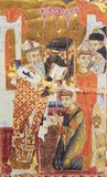 Archbishop John of Cilician Armenia, in a painting from 1287. His dress displays a Chinese dragon, an indication of Chinese artistic influence via the Mongol Yuan Dynasty (1271-1368).