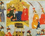 Tolui Khan with his wife Sorghaghtani. From Rashid al-Din, Jami al-Tawarikh, early 14th century.<br/><br/>  Tolui, also rendered Toluy, Tului or Tolui Khan (1192–1232) was the youngest son of Genghis Khan by Borte. His ulus, or territorial inheritance, at his father's death in 1227 was the homelands in Mongolia, and it was he who served as civil administrator in the time it took to confirm Ogodei as second Khagan of the Mongol Empire (1206–1368). Before that, he had served with distinction in the campaigns against the Jin Dynasty, the Xi Xia and the Khwarezmid Empire, where he was instrumental in the capture and massacre at Merv and Nishapur. He is a direct ancestor of most of the Emperors of Mongolia.