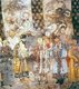 In mid Imperial China, characters in theatrical performances wore elaborate costumes and stereotyped facial makeup, shown here in a large Yuan Dynasty (1279-1368 AD) mural in a hall of the Guangsheng temple in Hongtong, Shanxi province.